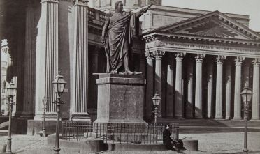 St. Petersburg. Monument of General Field Marshal Prince Michail Illarionowitsch Kutusow (1745-1813) in front of the Kazan Cathedral. About 1870. Photograph by A. Lorens / St. Petersburg. (Photo by Imagno/Getty Images) *** Local Caption ***