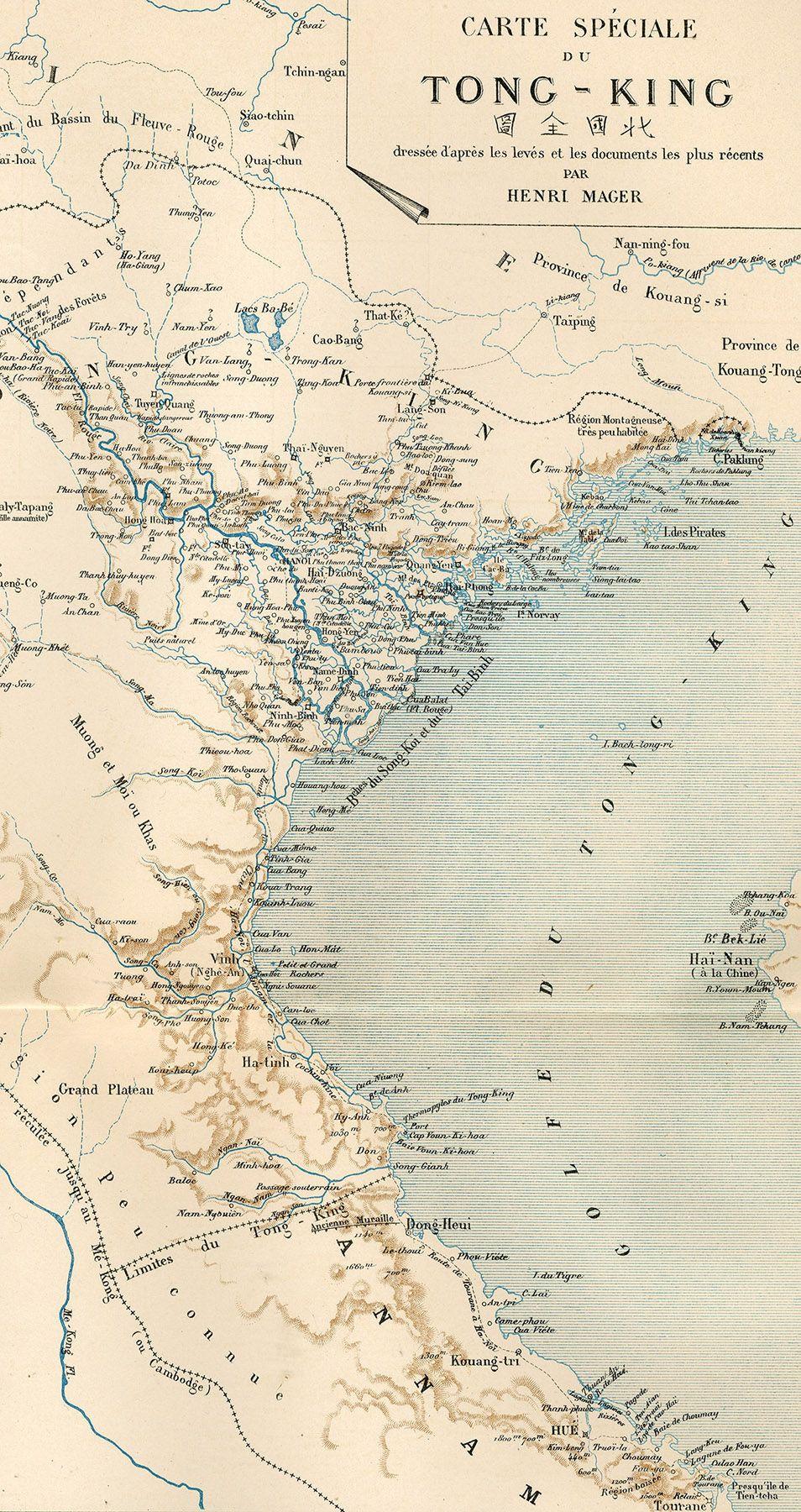Fonte figura 1: H. Mager, Carte spéciale du Tong-king dressée d'après les levés et les documents les plus récents, Atlas Colonial, Paris 1890, Charles Bayle éditeur, f.t.