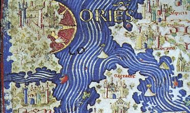 Figura 4: Fra' Mauro, particolare laterale del suo celebre mappamondo in corrispondenza del territorio denominato  qui trascritto per la prima volta su una rappresentazione cartografica, 1450 ca.