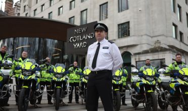 Chief inspector Jim Corbett and other police officers from the Metropolitan Police stand behind the new motorbikes that have been purchased for their task force at New Scotland Yard, London. (Photo by Luciana Guerra/PA Images via Getty Images)