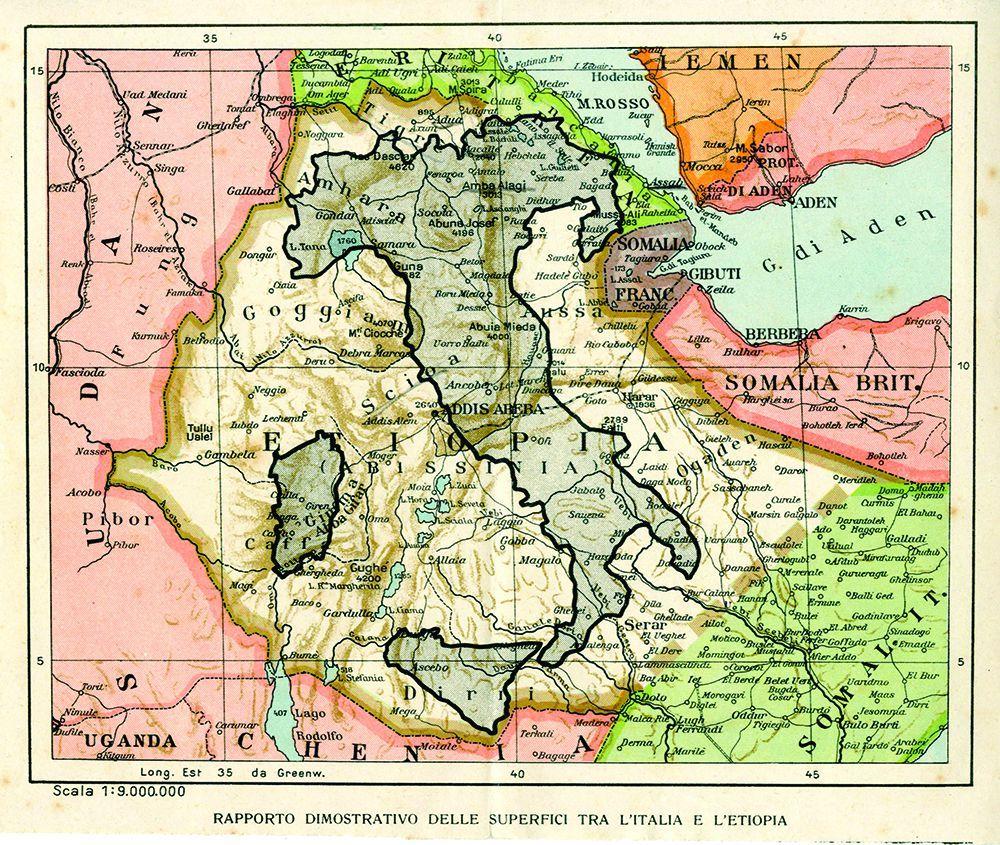 Rapporto dimostrativo delle superfici tra l'Italia e l'Etiopia, Paravia, Torino, 1935 circa.