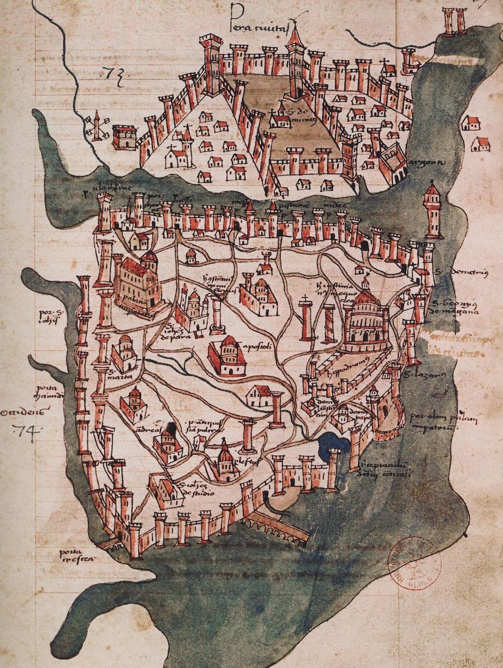 Fonte: C. Buondelmonti, Pianta di Costantinopoli, copia posteriore non datata dall'originale del 1417 ca.