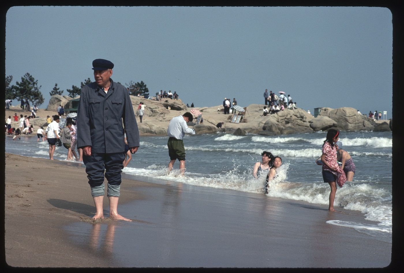 Beachgoers at Beidaihe  (Photo by Dean Conger/Corbis via Getty Images)