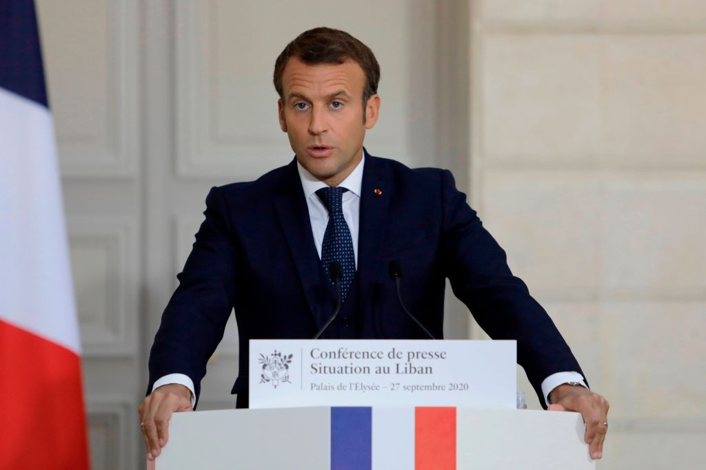 French President Emmanuel Macron speaks during a press conference on the political and economical situation in the Lebanon on September 27, 2020 in Paris. - Lebanons prime minister-designate Moustapha Adib resigned on September 26, 2020, amid a political impasse over government formation, dealing a blow to French President Emmanuel Macrons efforts to break a dangerous stalemate in the crisis-hit country. (Photo by Lewis Joly / POOL / AFP) (Photo by LEWIS JOLY/POOL/AFP via Getty Images)