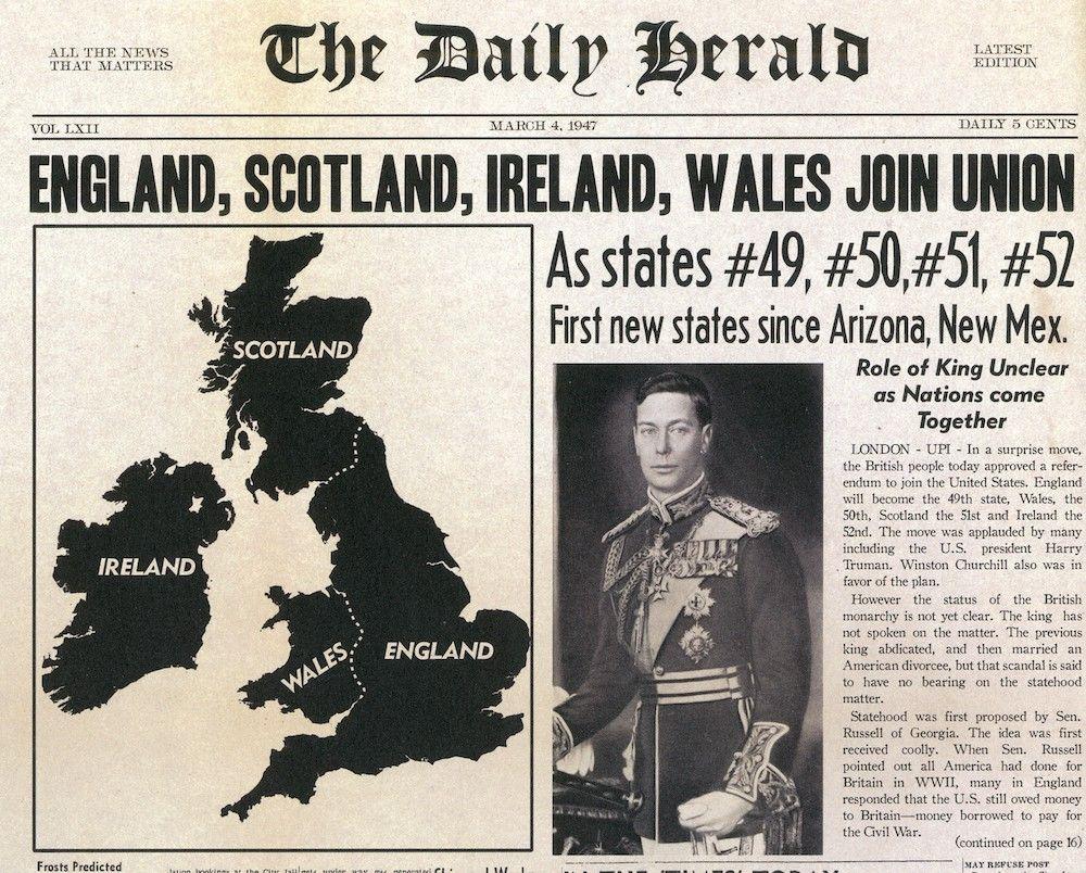 Fonte: Prima pagina del The Daily Herald, 4 marzo 1947.