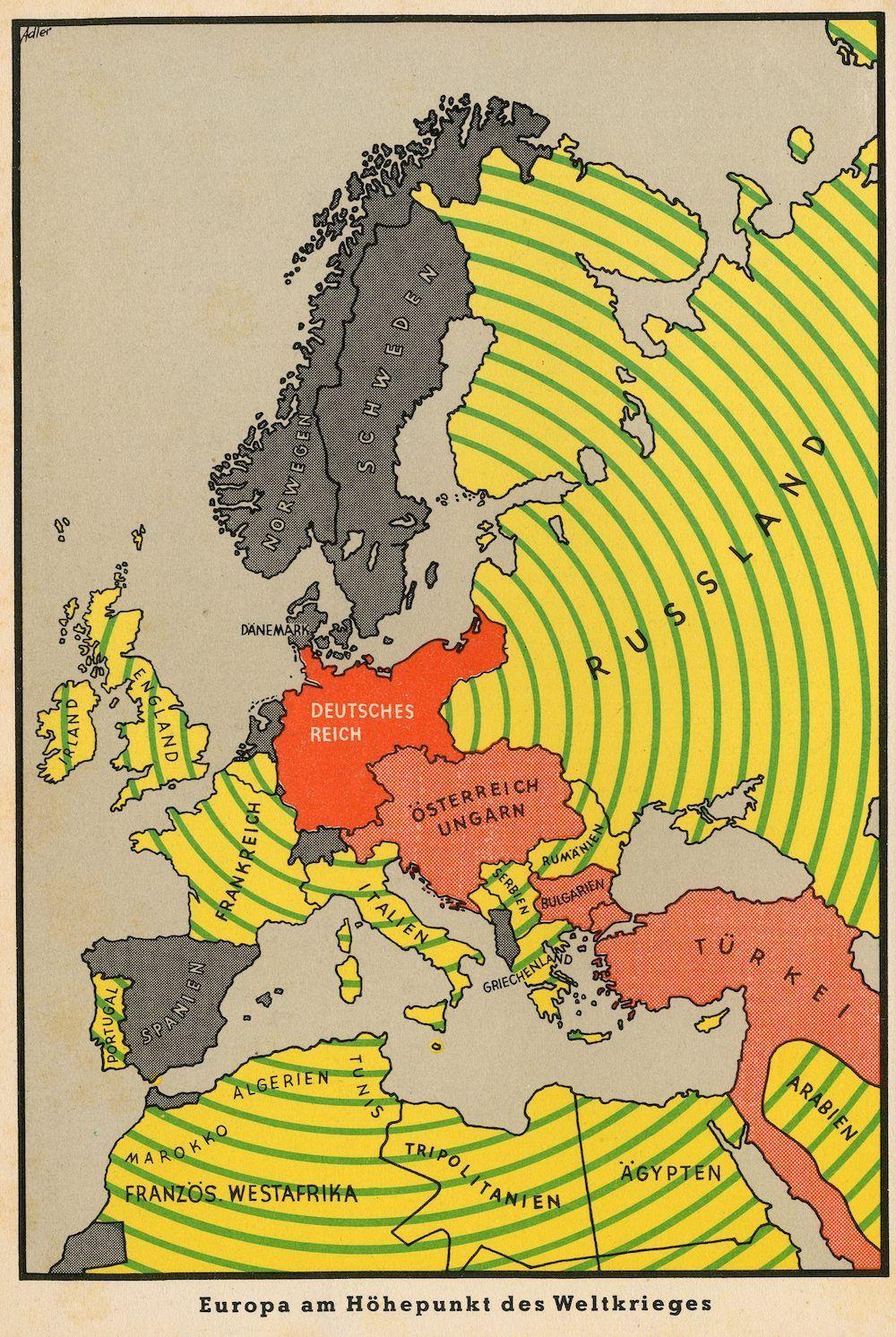 E. adler, Europa am Höhepunkt des Weltkrieges (L'Europa all'apice della guerra mondiale), da G. Wirsing, Der Krieg 1939-41 in Karten, München 1942, Knorr & Hirth, tav. 1.