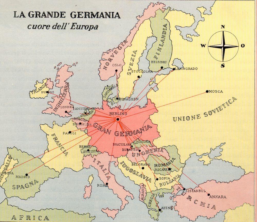 E. PaHloW, La Grande Germania cuore dell'Europa, da opuscolo di propaganda tedesca in lingua italiana intitolato «La Grande Germania in compendio», Berlin 1935 ca., Deutscher Verlag, p .7.