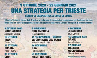 """Locandina del corso di geopolitica """"Una strategia per Trieste"""" (9/10/20 - 22/1/21)"""