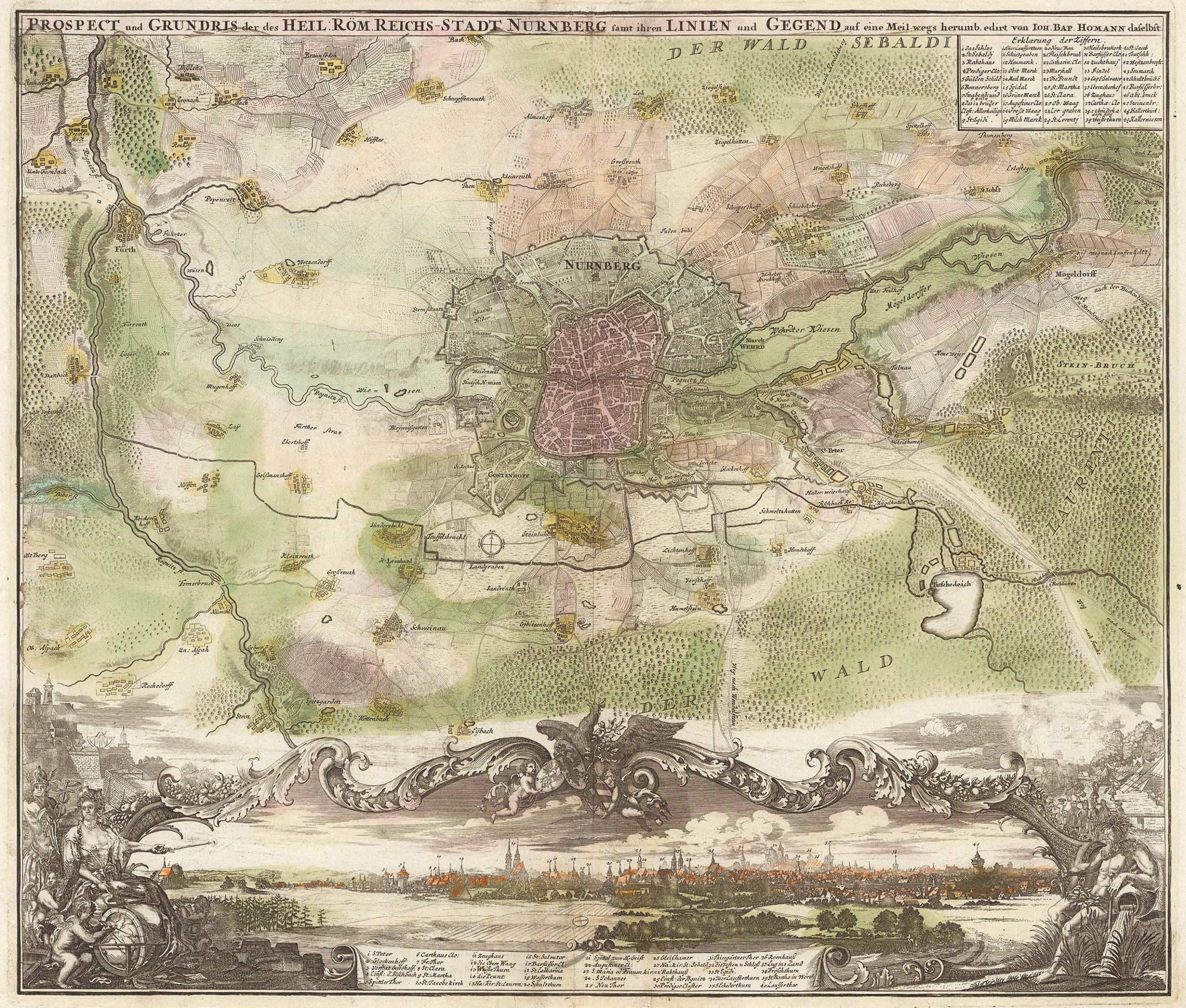 Fonte: J.B. Homann, Prospect und Grundis des Heil: Röm. Reichs-Stadt Nürnberg, Norimberga 1719, Homann (David Rumsey).