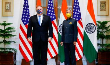 US Secretary of State Mike Pompeo (L) and India's Foreign Minister Subrahmanyam Jaishankar stand during a photo opportunity before their meeting at Hyderabad House in New Delhi on October 26, 2020. (Photo by ADNAN ABIDI / POOL / AFP) (Photo by ADNAN ABIDI/POOL/AFP via Getty Images)