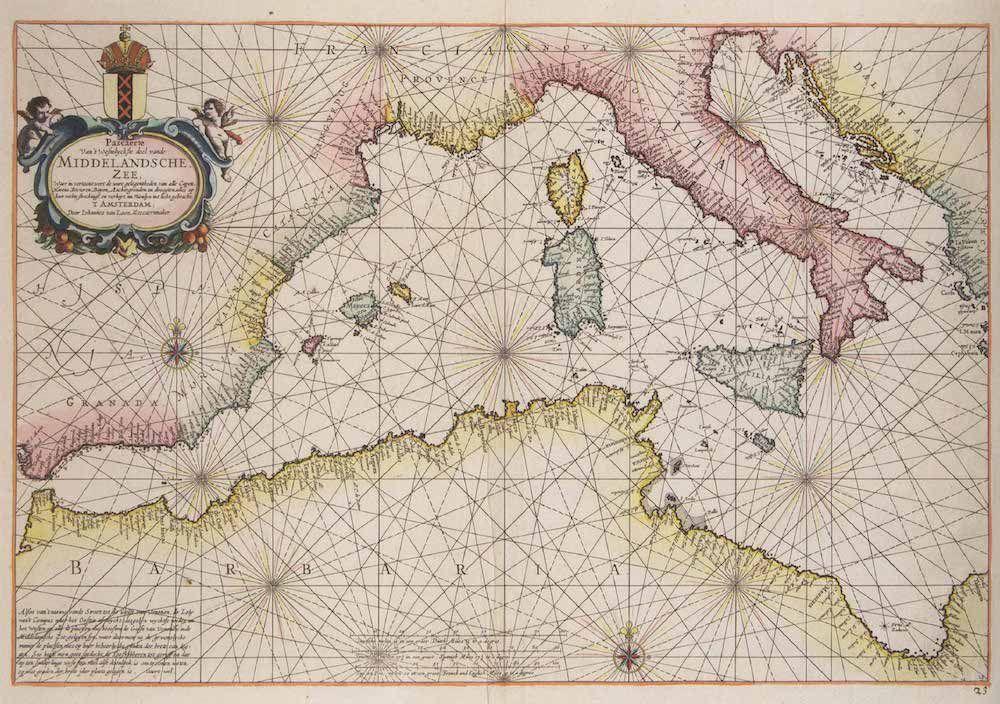 Fonte: J. van Loon, «Pascaerte Van't Westelyckste deel vande Middelandsche Zee» («Carta della parte più occidentale del Mar Mediterraneo»), dall'atlante Klaer Lichtende Noort-Ster Ofte Zee, Amsterdam 1661.