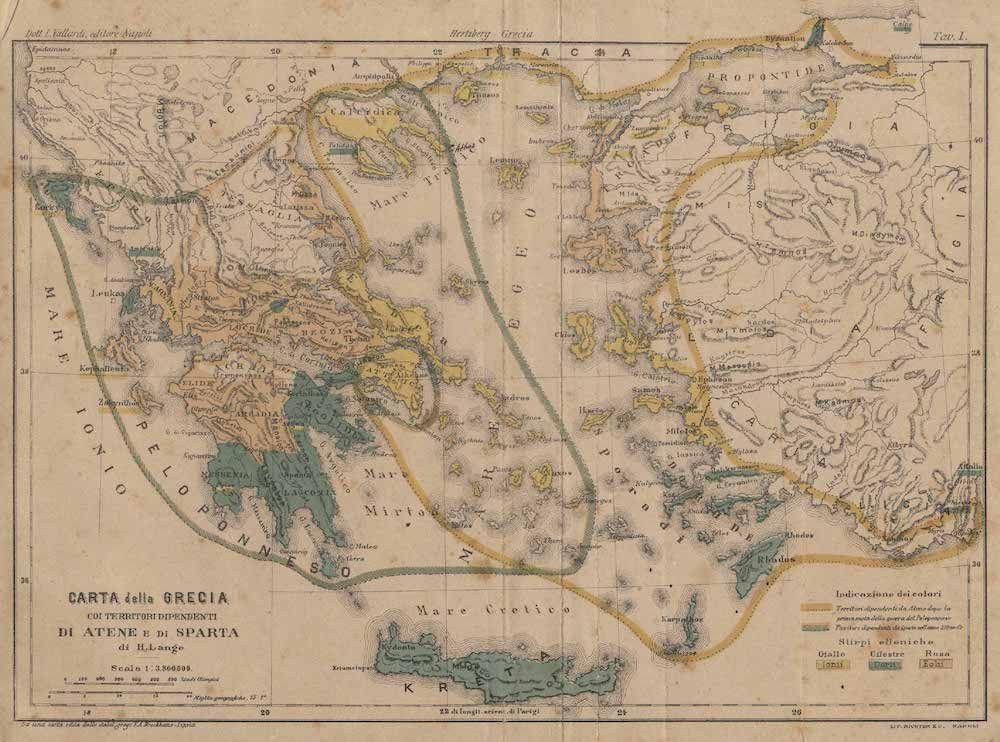 Fonte: H. Lange, Carta della Grecia coi territori dipendenti di Atene e Sparta, Napoli 1880 ca., Vallardi.