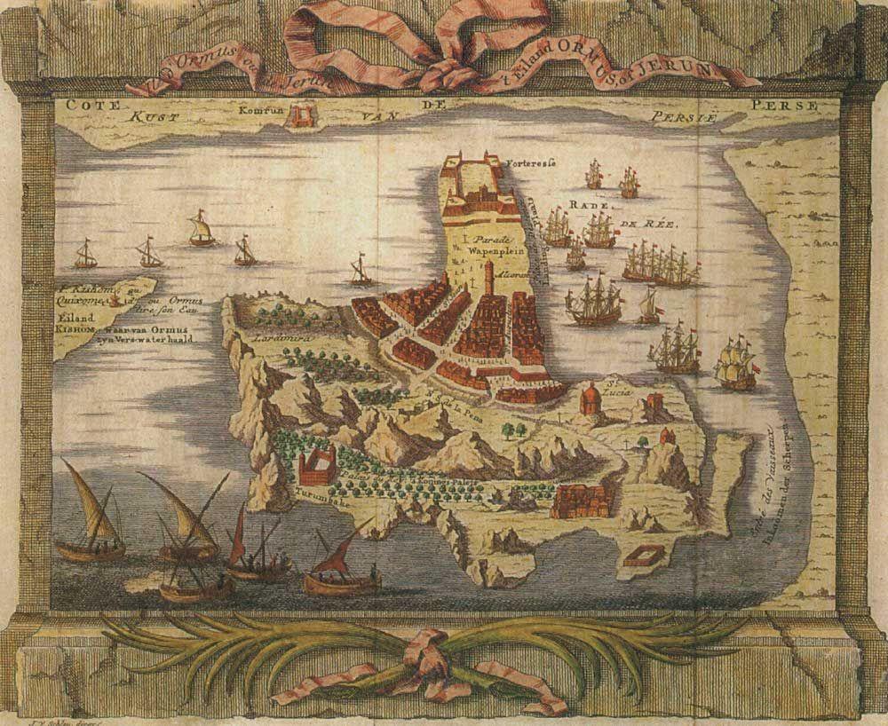 Fonte fig. 3: J. van der Shley, «Ile d'Ormus ou de Jerun. 't Eiland Ormus, of Jerun», da Histoire Générale des Voyages, Paris 1760 ca.