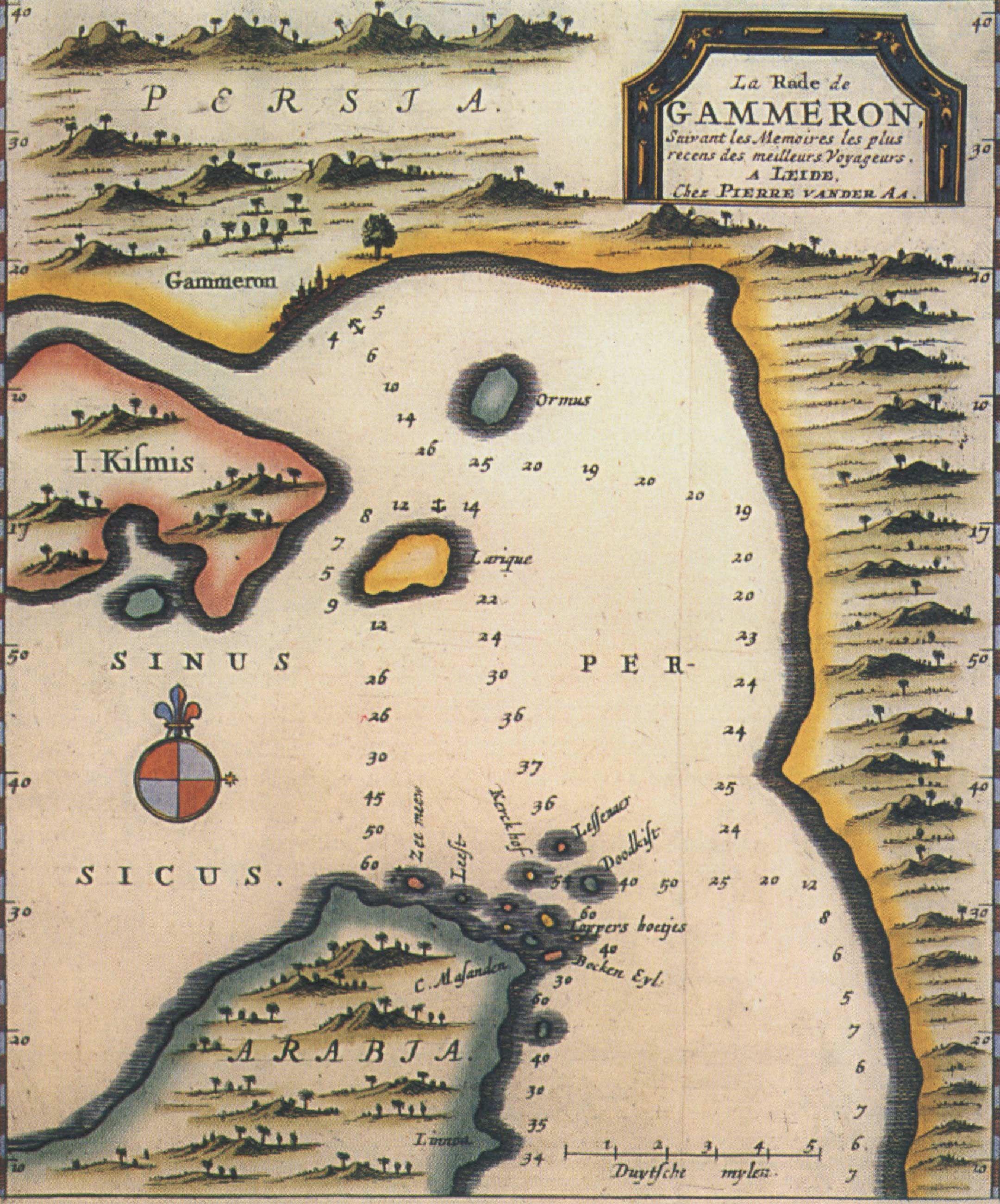 Fonte fig. 4: P. van der Aa, La rade de Gammeron, da Nouvel Atlas, très exact et fort commode pour toutes sortes de personnes, Contenant Les Principales cartes géographiques, Leida 1713 ca.