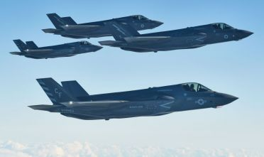 IN FLIGHT, SCOTLAND - OCTOBER 08: F-35B combat aircraft from the United States Marine Corp and the RAF prepare to refuel from an RAF Voyager aircraft over the North Sea on October 08, 2020 in flight, above Scotland. The first air-to-air refuelling of F-35Bs from the newly-formed Carrier Strike Group took place as part of Operation Joint Warrior. Flying from HMS Queen Elizabeth, the RAF, RN and USMC Pilots (USofA) were demonstrating the operational capabilities of NATO and the UK for current and future threats. Operation Joint Warrior took place in the North Sea with 28 ships, 81 Air Assets and 130 Ground Troops from 11 nations. (Photo by Leon Neal/Getty Images)