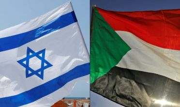 (COMBO) This combination of pictures created on October 23, 2020 shows (L to R) an Israeli flag during a rally in the coastal city of Tel Aviv on September 19, 2020; and a Sudanese flag during a gathering east of the capital Khartoum on June 3, 2020. - Sudan and Israel agreed on Otober 23 to normalise relations, in a US-brokered deal to end decades of hostility that was widely welcomed but stirred Palestinian anger. The announcement makes Sudan, technically at war with Israel since its 1948 foundation, the fifth Arab country to forge diplomatic relations with the Jewish state. (Photos by JACK GUEZ and ASHRAF SHAZLY / AFP) (Photo by JACK GUEZ,ASHRAF SHAZLY/AFP via Getty Images)