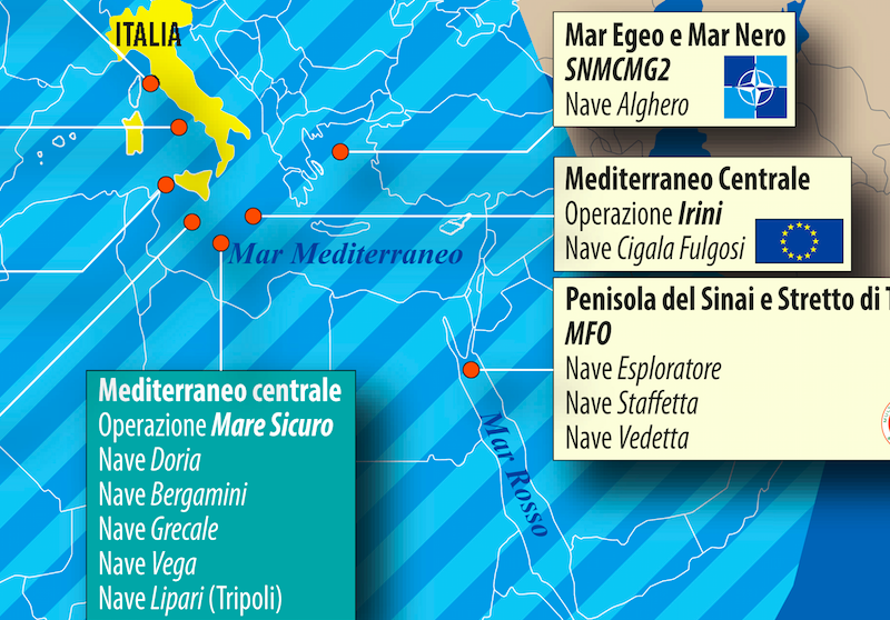 dettaglio carta Unità navali nel mediterraneo allargato