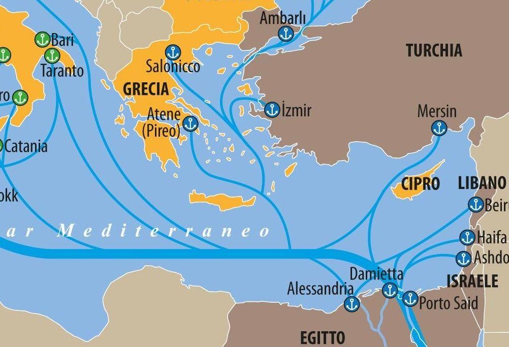 Mare Mediterraneo Cartina.Carta La Rete Portuale Del Mediterraneo Limes