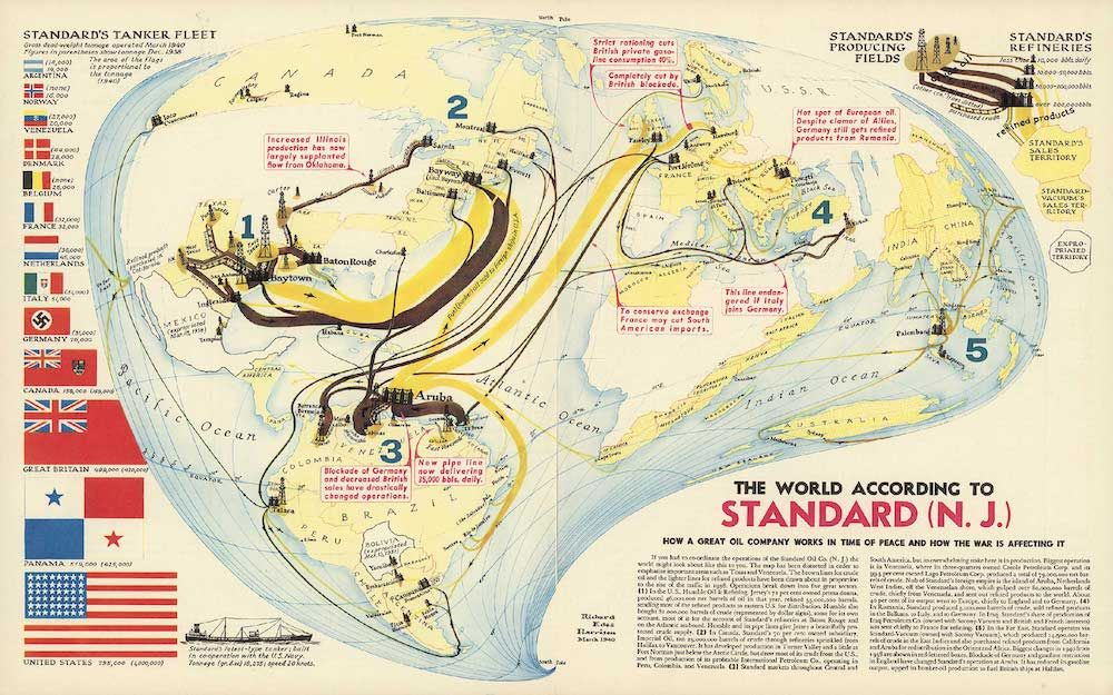 Fonte: R.E. Harrison, The world according to Standard (N.J.). How a great oil company works in time of peace and how the war is affecting it, marzo 1940 (David Rumsey Collection).