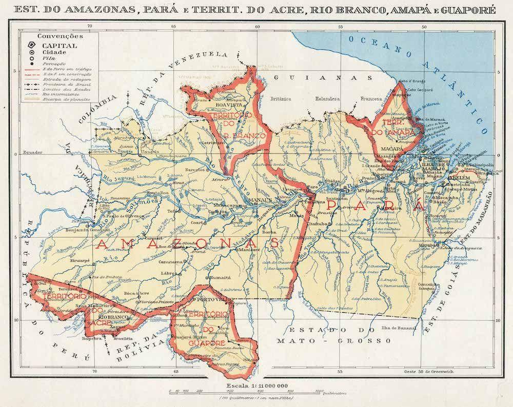 Fonte: G.J. Pauwels, «Est. do Amazonas, Pará e territ. Do Acre, Rio Branco, Amapá e Guaporé», da Atlas Geográfico, São Paulo 1951, Edições Melhoramentos, tav. 34.