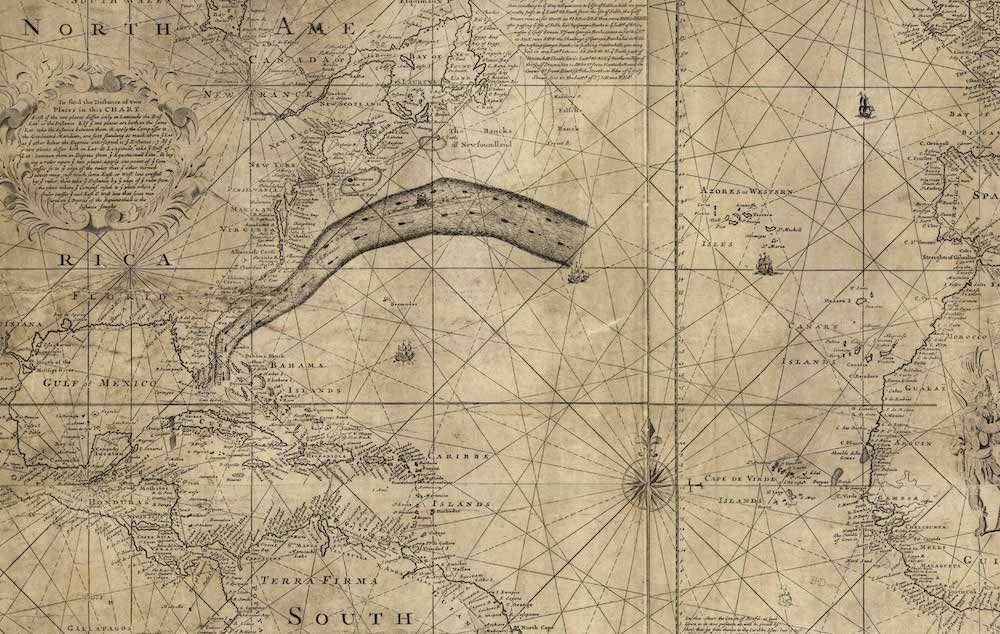 Fonte: particolare dalla Carta della corrente del Golfo di T. Folger e B. Franklin, 1769.