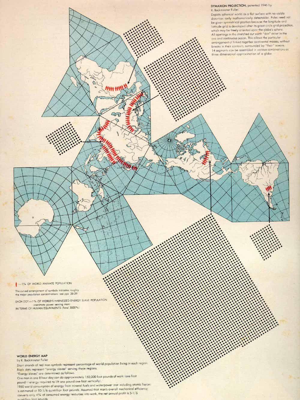 Fonte: H. Bayer, «World Energy Map», da World Geo-Graphic Atlas, Chicago 1953, Container Corporation of America, p. 278.