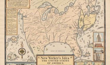 D.K. Wallingford, A New Yorker's Idea of the United States of America, distribuita dalla Columbia University Press, 1936 (da Cornell University, P.J. Mode Collection).