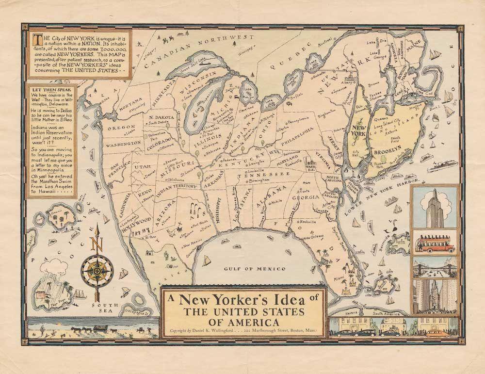 D.K. Wallingford, A New Yorker's Idea of the United States of America, distribuita dalla Columbia University Press, 1936 (da Cornell University, P.J. Mode Collection).