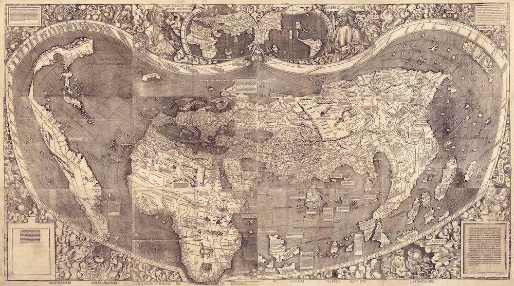 M. Waldseemüller, Universalis cosmographia secundum Ptholomaei traditionem et Americi Vespucii alioru[m]que lustrationes, 1507 (da Library of Congress).