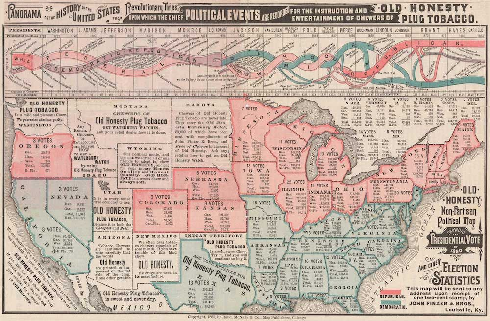 Old Honesty Non-Partisan Political Map Showing Presidential Vote of 1880 and other Election Statistics, cartografia Rand McNally, 1884 (da Cornell University, P.J. Mode Collection).
