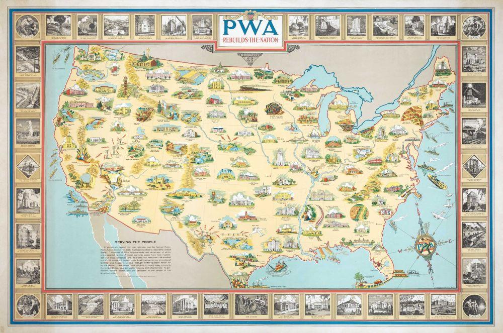 Earl Purdy, PWA rebuilds the Nation, 1939 (fondo cartografico Cornell University).