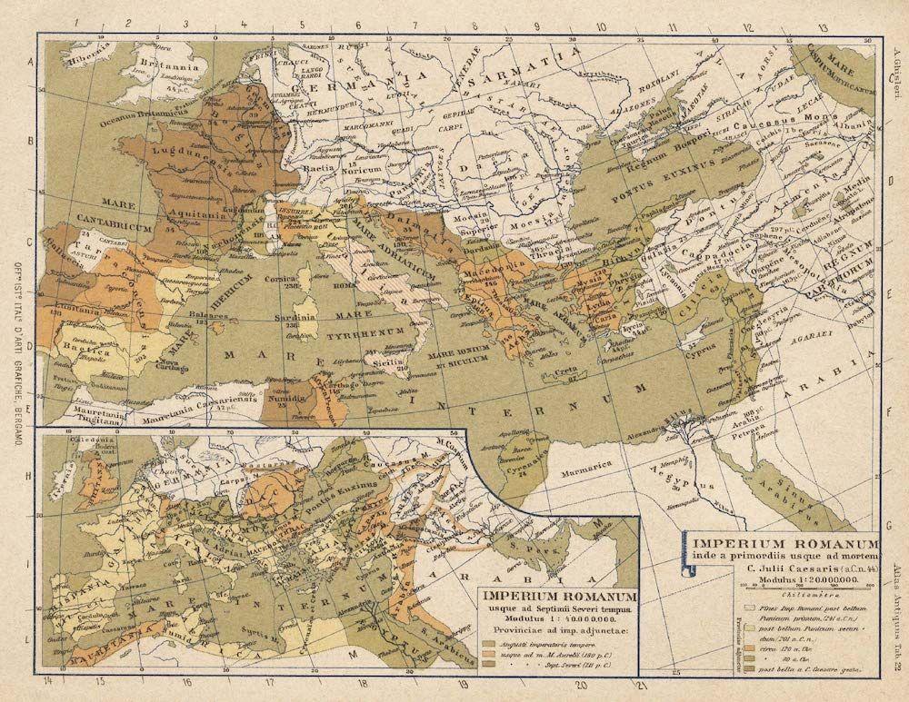 A. Ghisleri, «Imperium Romanum inde a primordiis usque ad mortem C. Julii Caesaris», da Testo Atlante del Mondo Antico, Bergamo 1894, Istituto Italiano d'Arti Grafiche, tav. 22.