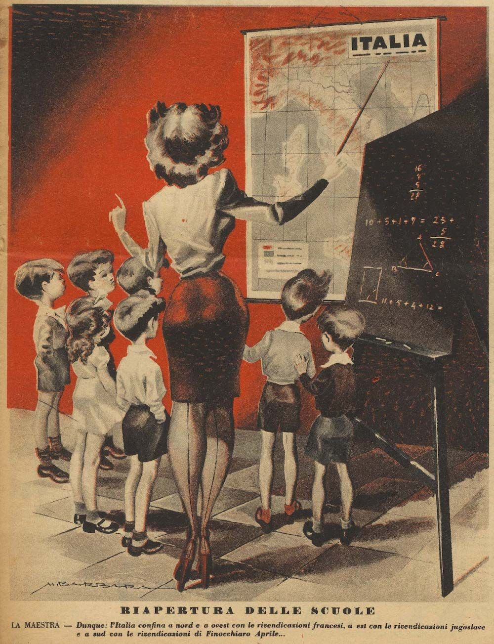 B. Mameli, illustrazione di copertina della rivista Marforio, anno 53, n. 32 (nuova serie), 4 novembre 1944.