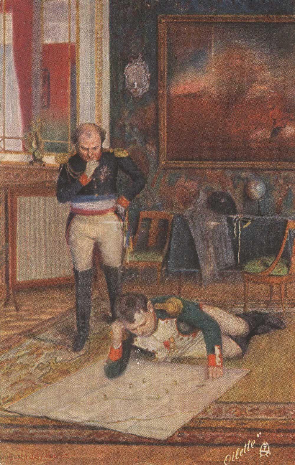 Fonte 1: cartolina raffigurante un dipinto di Emmanuel Bachrach-Barée, kollektion Moderne Meister, serie XVII Napoleon, Berlin 1910 circa, Tuck.