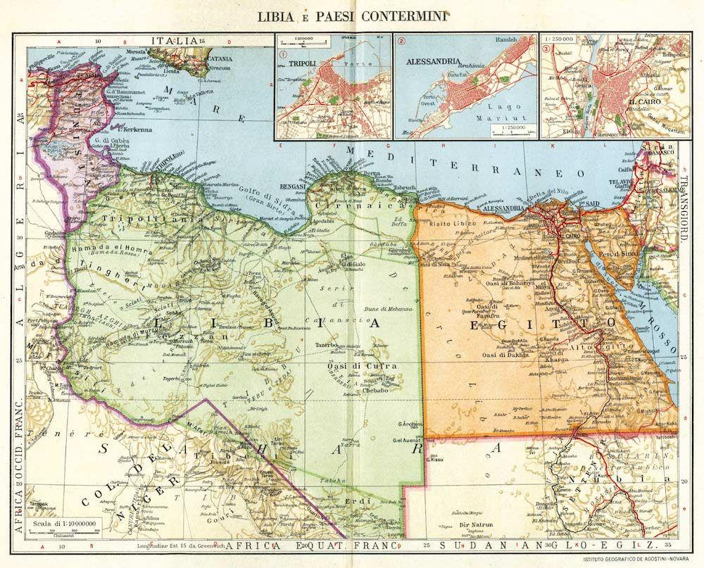 Fonte 4: L. Visintin, «Libia e paesi contermini», da Atlante Geopolitico Universale, Novara 1947, Istituto Geografico De Agostini, tavv. 126-7.