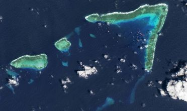 WHITSUN REEF, SOUTH CHINA SEA - MARCH 24, 2021: An aerial view of Whitsun Reef, Spratly Islands, South China Sea. Imaged 24 March 2021. (Photo by Gallo Images/Orbital Horizon/Copernicus Sentinel Data 2021)