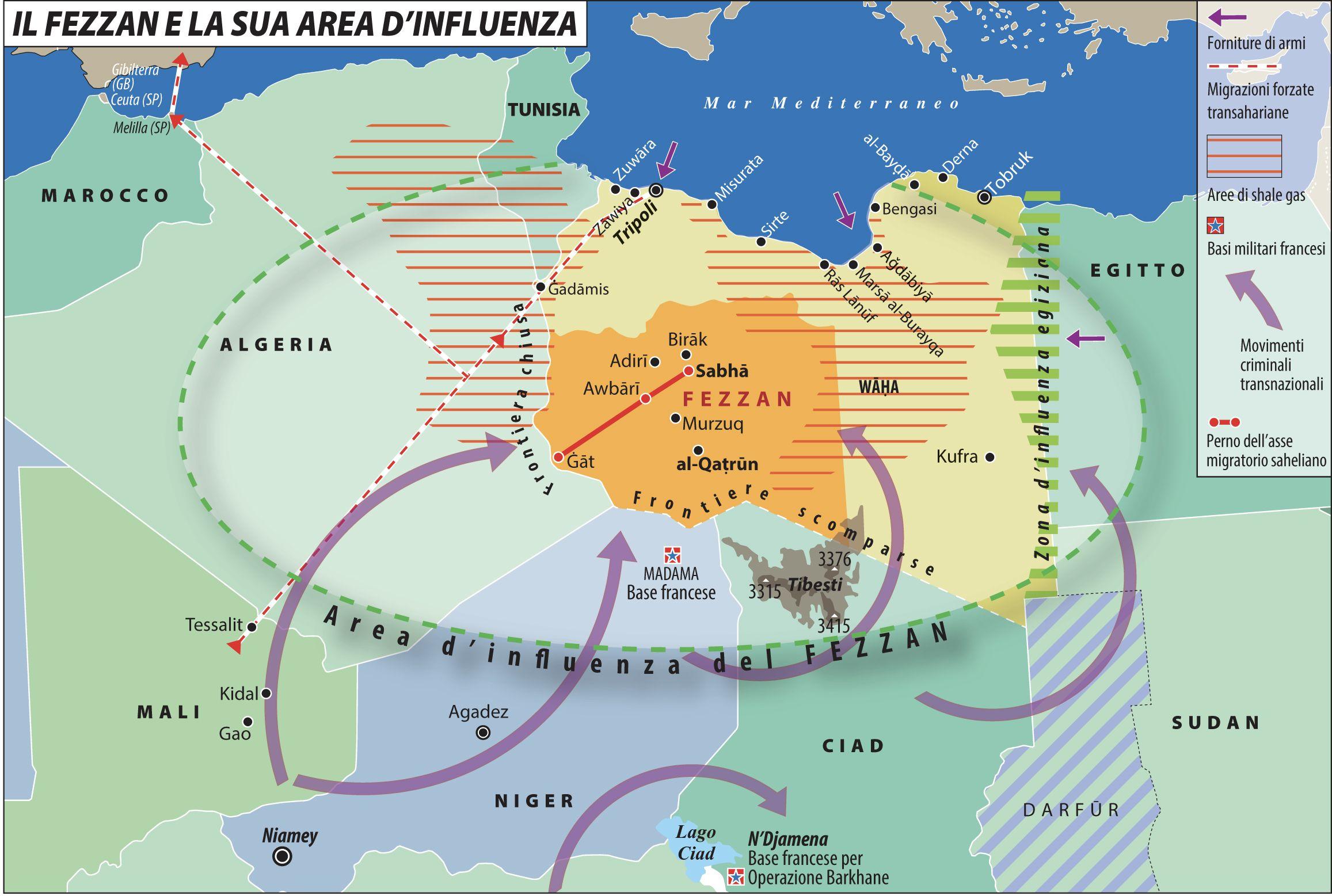Il Fezzan e la sua area d'influenza