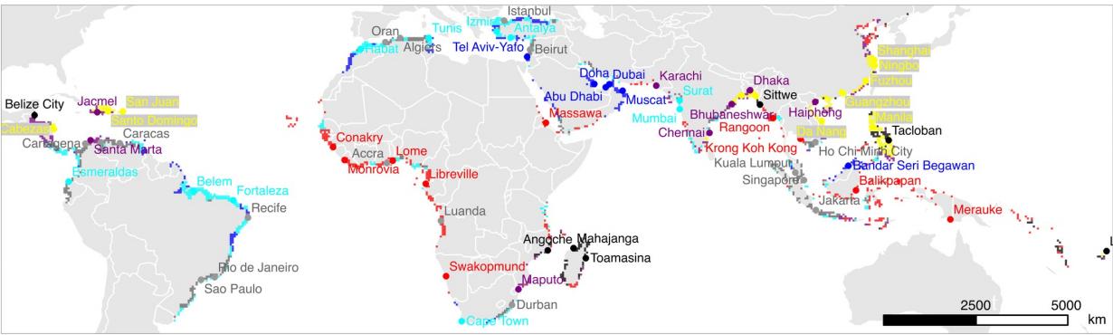 Figura 3 – Aree e città costiere nei paesi in via di sviluppo secondo sette profili naturali, economici o di governo | Fonte: Till Sterzel e alii, Typology of coastal urban vulnerability under rapid urbanization, Plos One, 31 Gennaio 2020