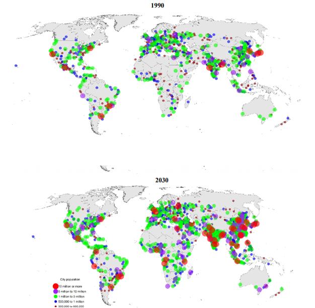 Figura 1 - Distribuzione delle città nel mondo secondo la popolazione, 1990 e 2030