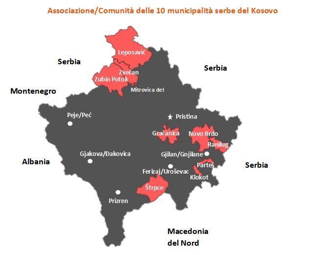 Carta di Gaetano Massara (2021), elaborata su mappa tratta da Wikipedia: https://en.wikipedia.org/wiki/Community_of_Serb_Municipalities