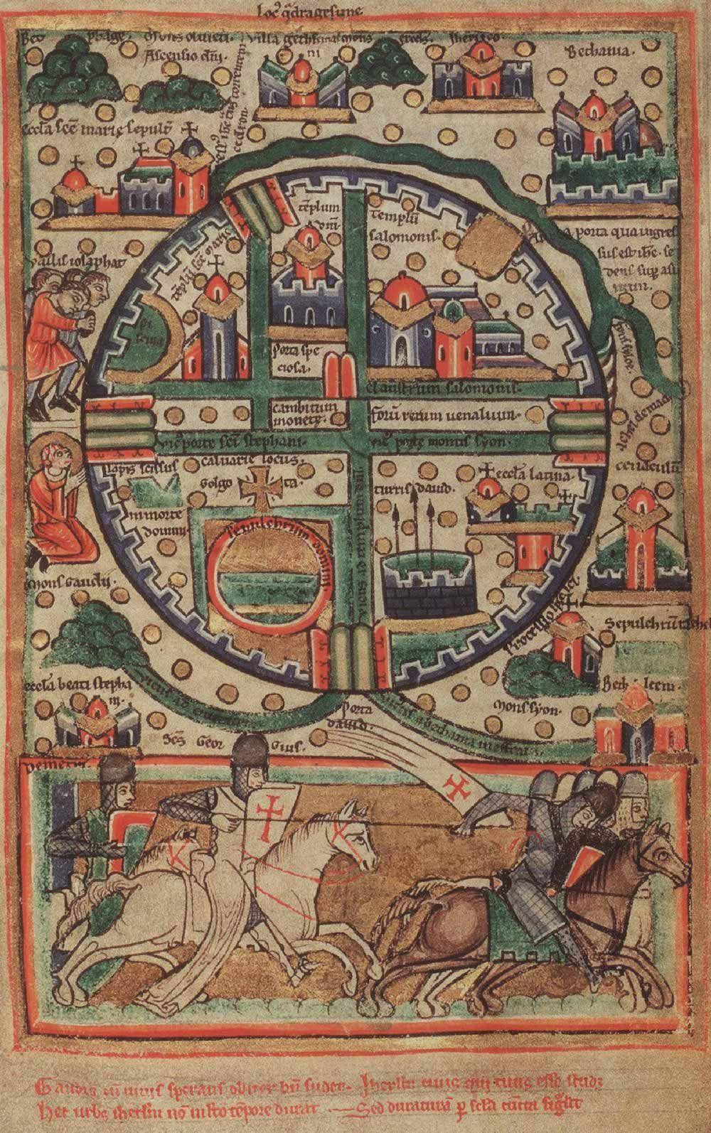 Fonte: Anonimo, Pianta di Gerusalemme, manoscritto miniato su pergamena, 1190 ca.