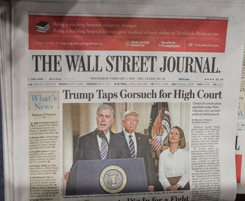 NEW YORK, NY - FEBRUARY 1: The front page of the Wall Street Journal announces the selection by President Donald Trump of Judge Neil Gorsuch for the Supreme Court February 1, 2017 in New York City. If confirmed, Judge Gorsuch will become the 9th Supreme Court judge filling the vacancy left by Judge Antonin Scalia. (Photo by Robert Nickelsberg/Getty Images)