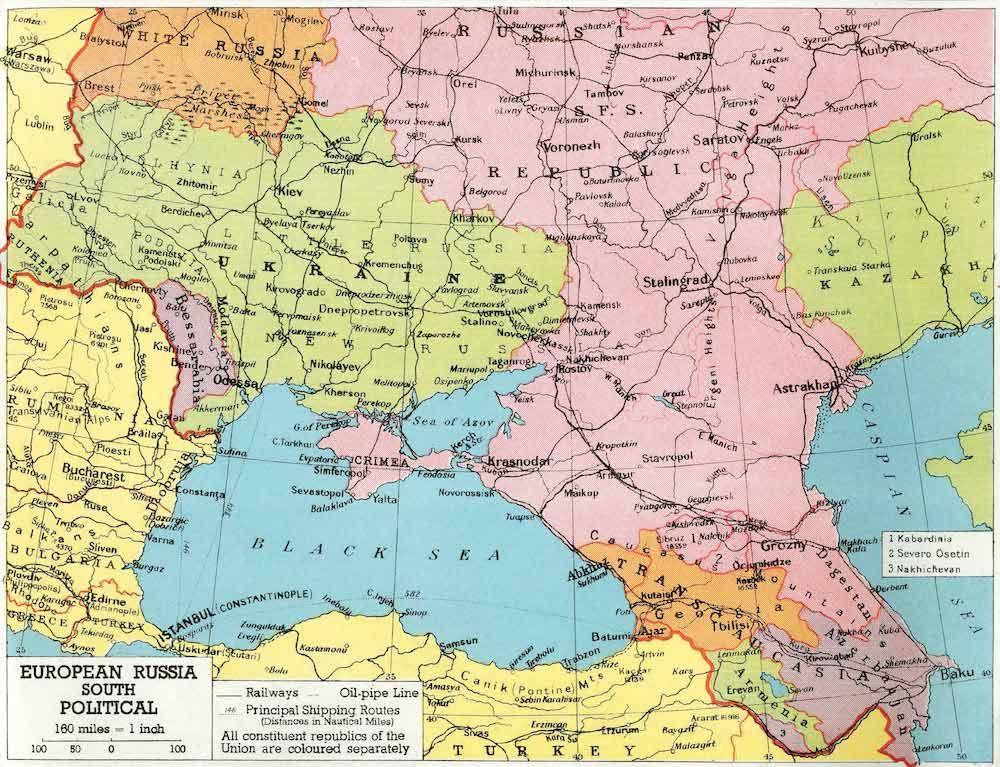 Fonte figura 5: «European Russia. South. Political», da Soviet Union in Maps. Its Origin and Development, Chicago 1947, Denoyer-Geppert Company, tav. 29.