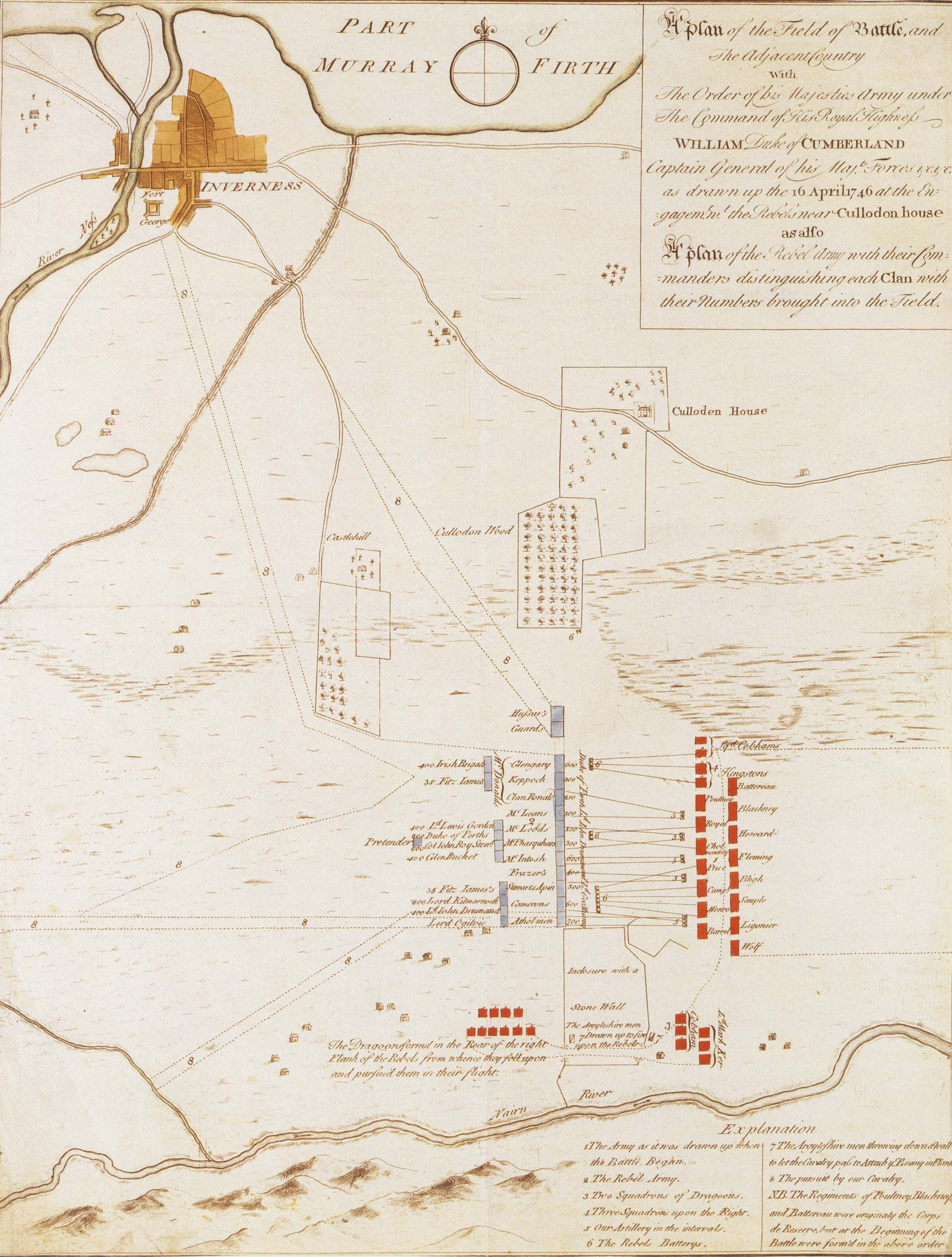 Fonte: Anonimo, A Plan of the Field and The Adjacent Country with the Order of his Majesties Army under the Command of His Royal Highness William Duke of Cumberland as drawn up on the 16 April 1746 at the Engagement with the Rebels near Culloden House, Edinburgh 1746 circa.