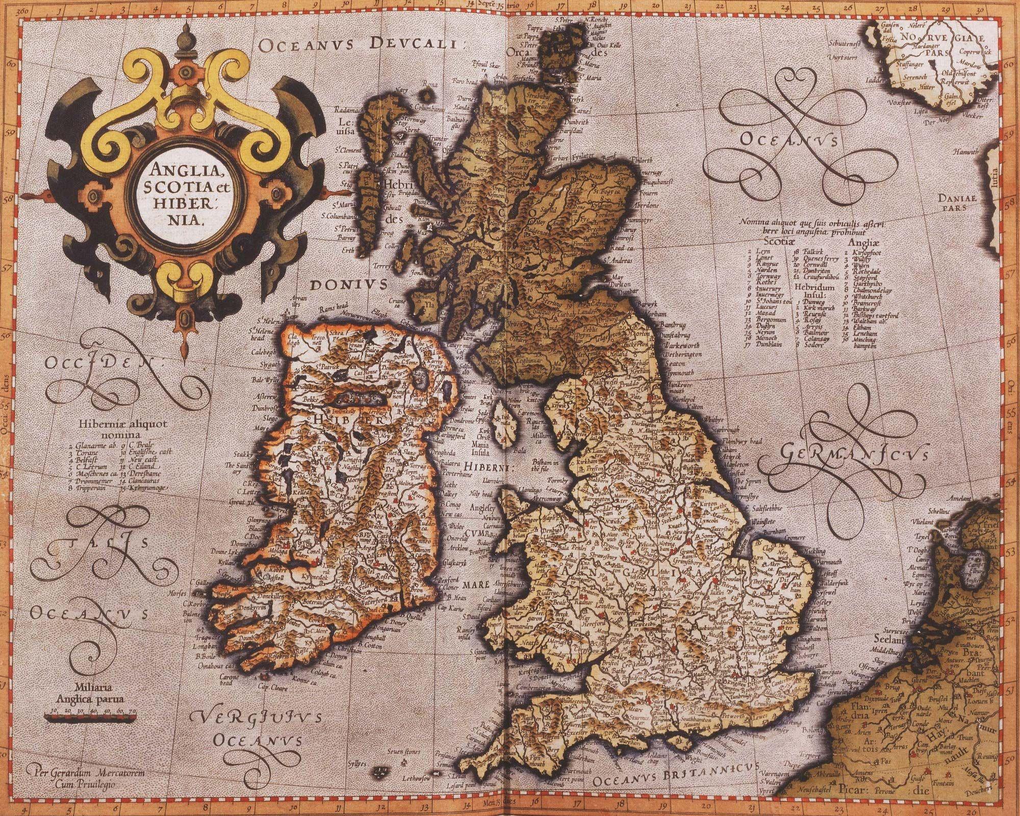 Fonte: G. Mercatore, «Anglia, Scotia et Hibernia», da Atlas sive cosmographicae meditationes de fabrica mundi et fabricati figura, Duisburg 1595.