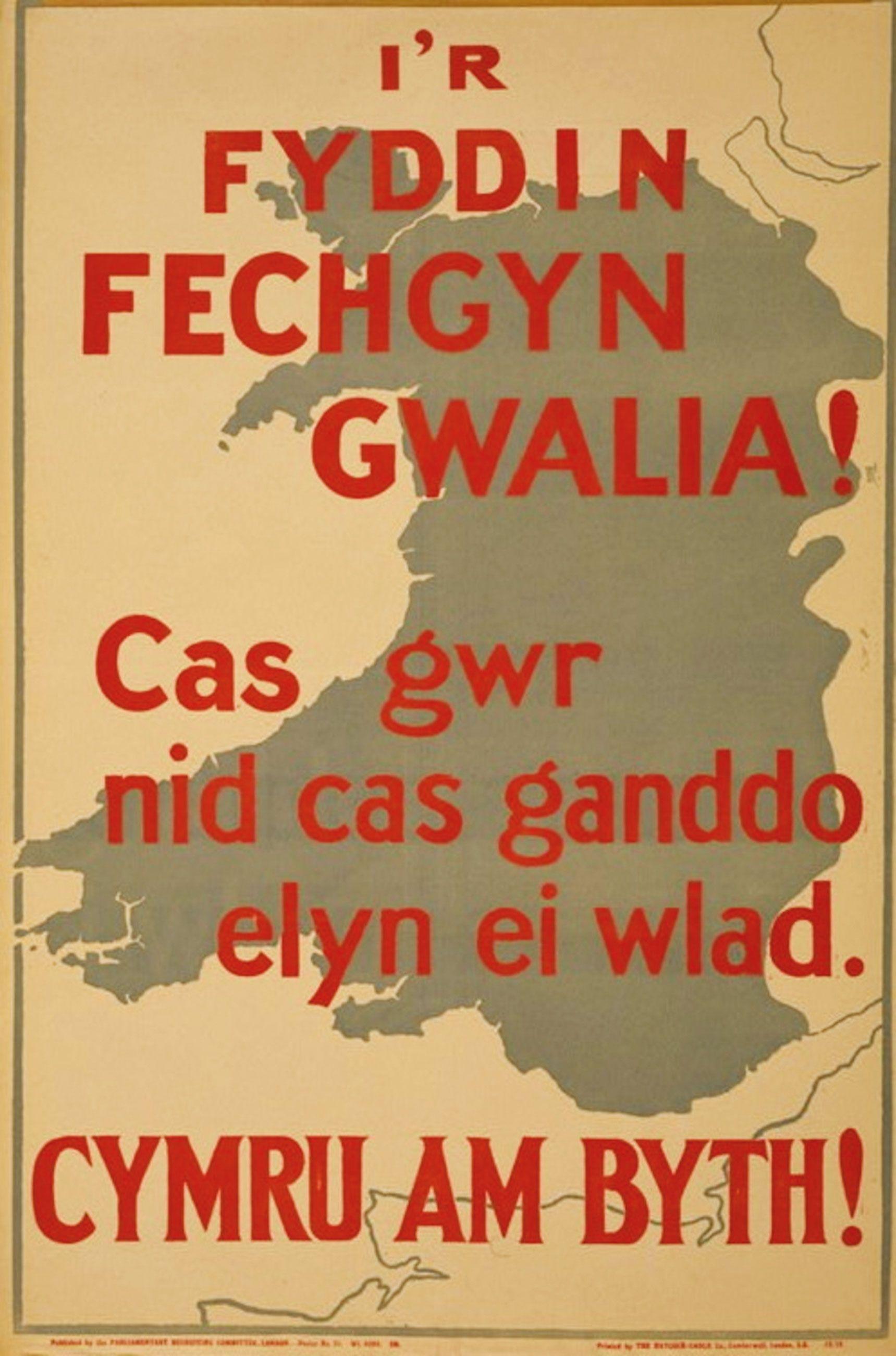 Fonte: I'r fyddin fechgyn gwalia! Cas gwr nid cas ganddo elyn ei wlad. Cymru am byth!, Parliamentary Recruiting Committee, Haycock-Cadle Co., London 1915.