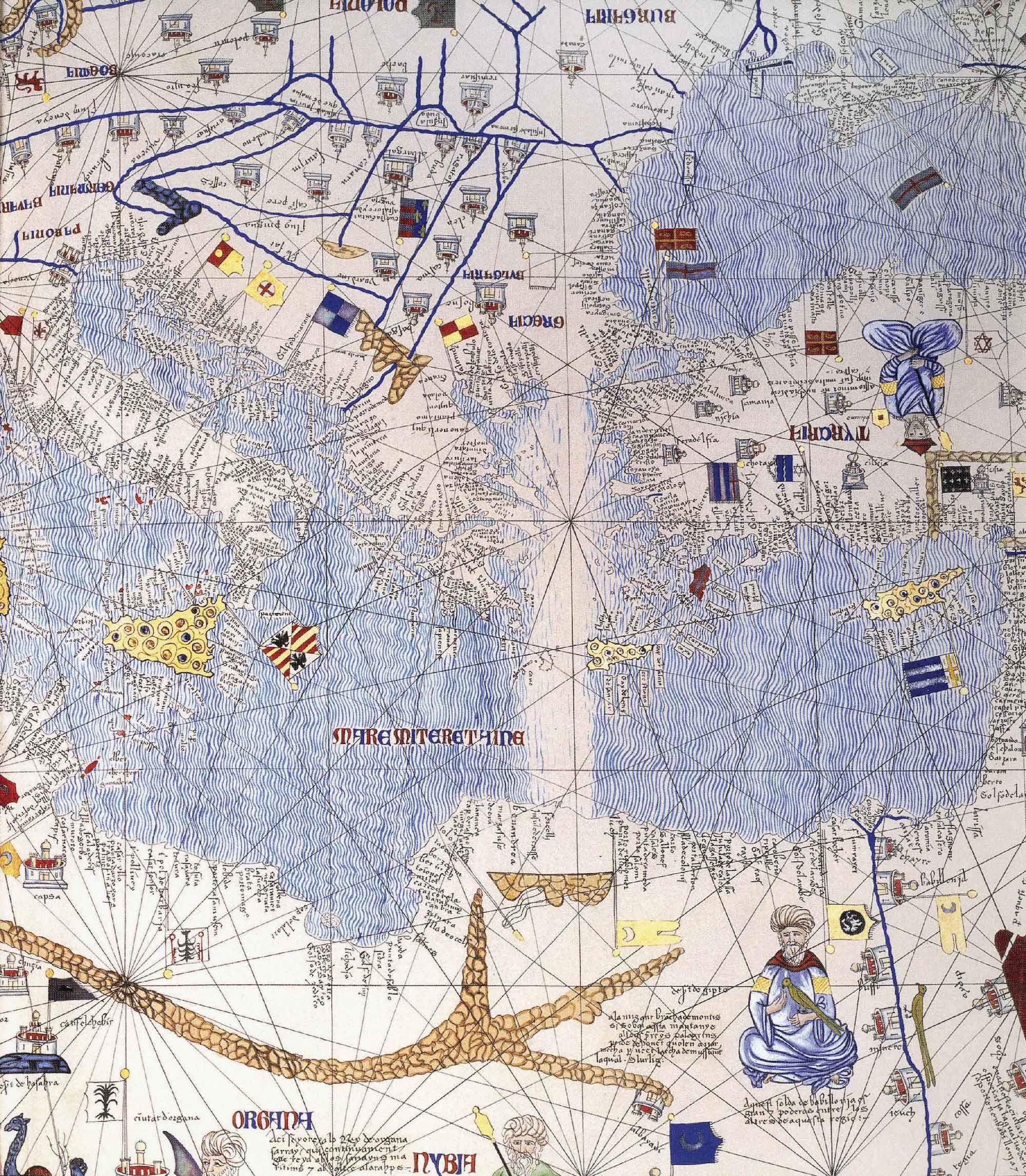 Fonte: Particolare del Mediterraneo orientale dall'Atlante catalano, 1375 ca, Bibliothèque Nationale de France.