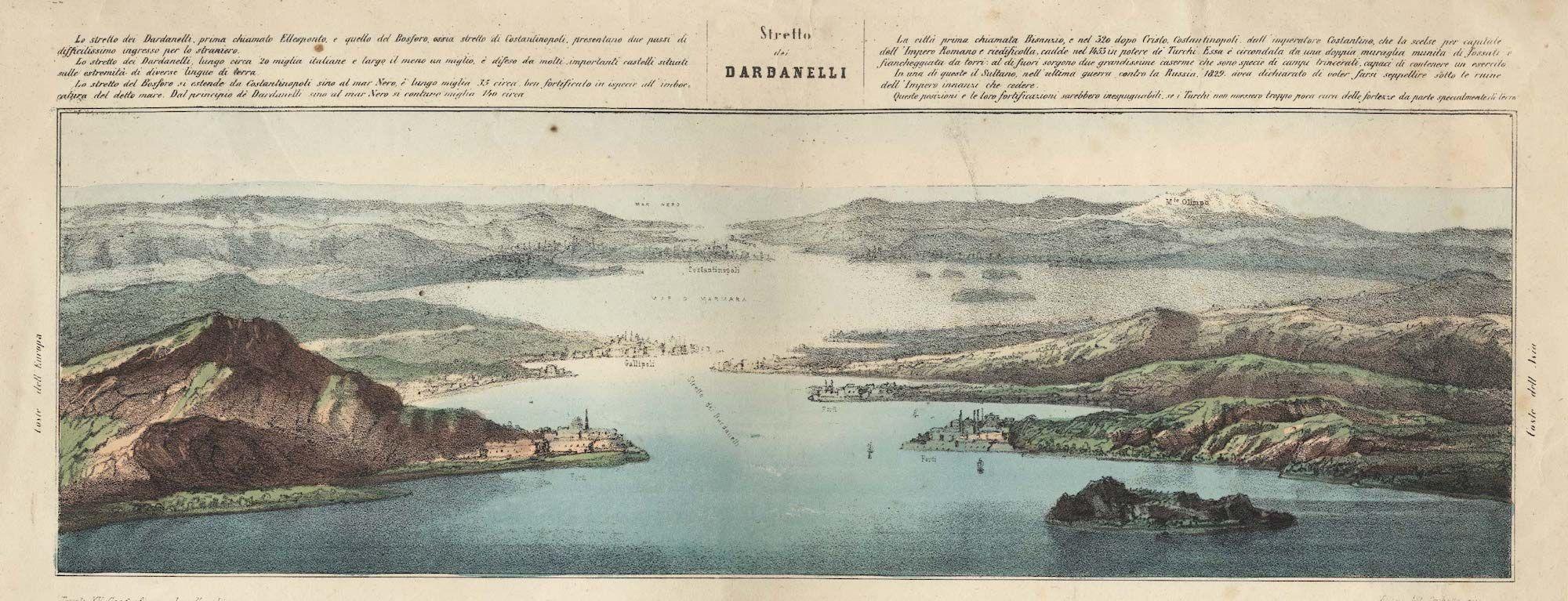 Fonte figura 3: G.F. Camocio, Dardanelo. Fortezza dala parte dela Gretia posta nella bocha dello stretto di Costatinop. del Signor Turcho, Venezia 1572 ca.
