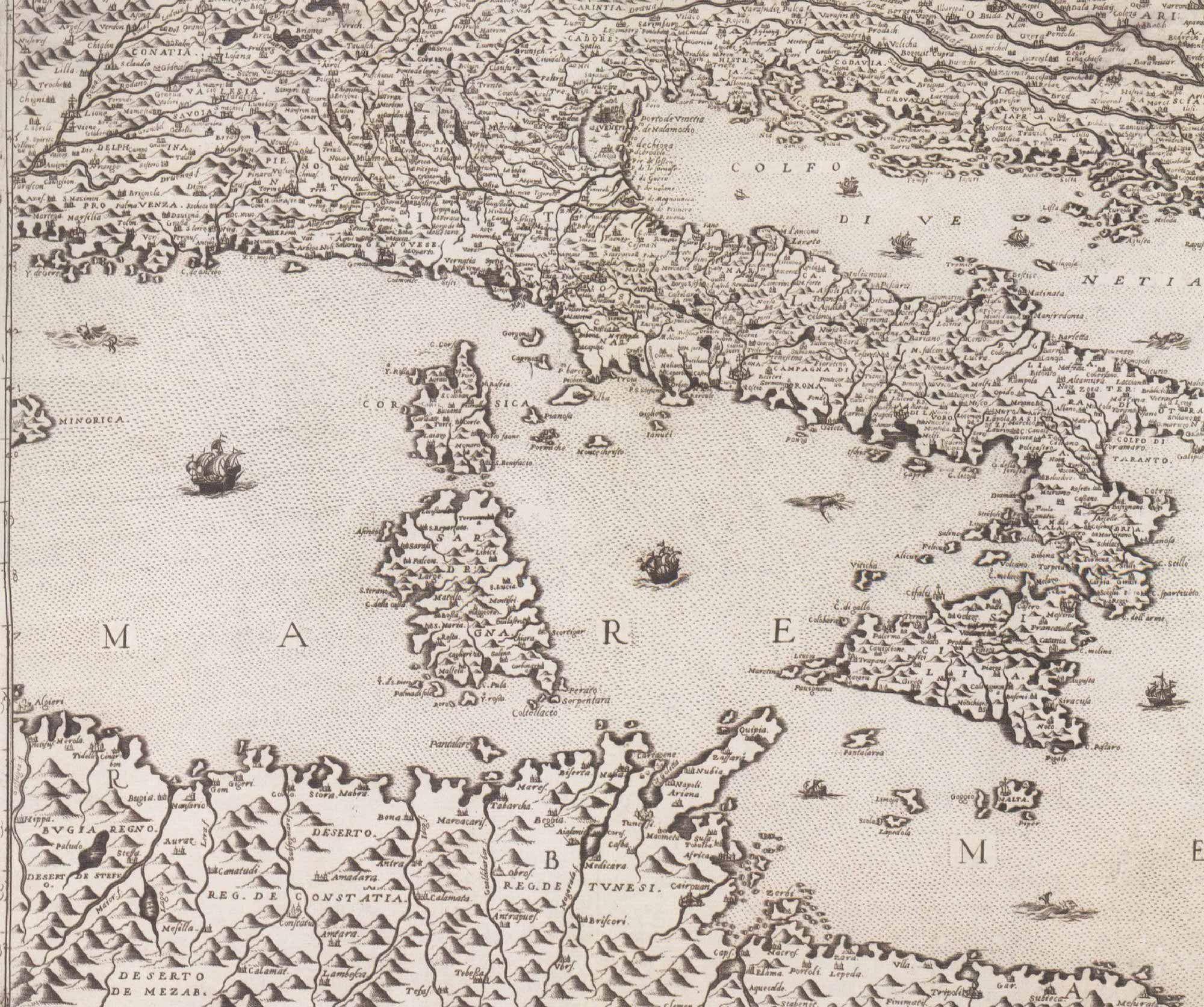 G.F. Camocio, particolare da una carta dell'Europa in 12 fogli, Venezia 1573.