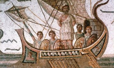 Ulysses and the sirens, Roman mosaic, 3rd century AD. From the Odyssey by Homer. Located in the collection of the Bardo Museum, Tunisia. (Photo by Art Media/Print Collector/Getty Images)